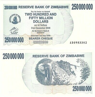Zimbabwe 250000000 250 Million Dollars 2008 P-59 UNC Inflation Banknote Elephant