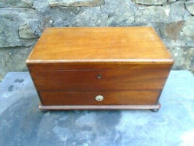 Antique,Fitted Mahogany Sewing Box With Drawer
