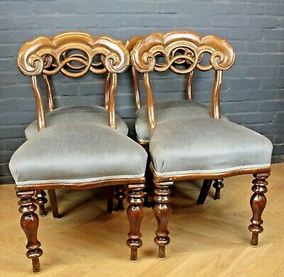 Set 4 Antique Early Victorian Mahogany & Upholstered Country House Dining Chairs