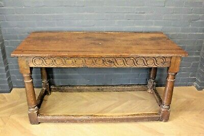 Antique William III Country House Carved Oak Kitchen Table Refectory Table
