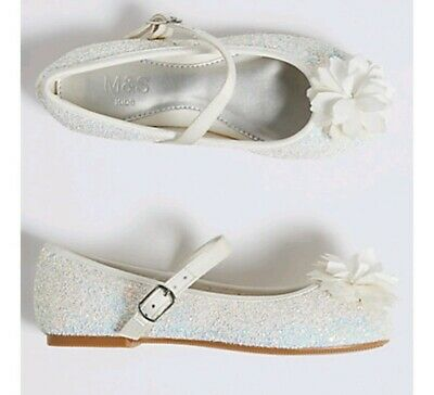 MARKS AND SPENCER  GIRLS Glitter Bridesmaid PARTY Shoes SIZE 4 EUR 37 BNWT