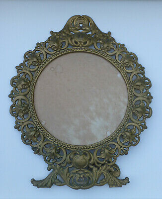 Ornate Rococo Heavy Cast Iron Art Brass Easel Back or Wall Round Picture Frame
