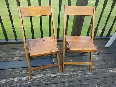 Vintage Snyder Wood Oak Wooden Folding Chairs Set Of 2 (Farrell Pa Lions Club)