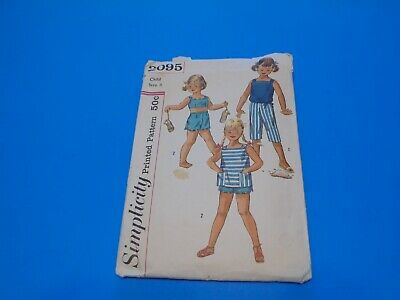 VTG 1960s Simplicity Sewing Pattern 2095 Girls Two Piece Playsuit & Pants Size 6