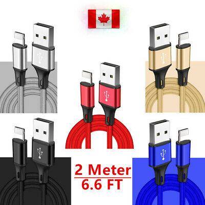 6FT/2M 8pin Data Sync Charger Cable for iPad iPhone X Xs Max Xr 8 8Plus 7 6s 6 5