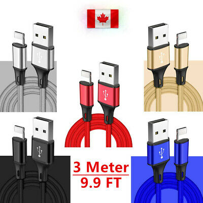 10FT/3M 8pin Data Sync Charger Cable for iPad iPhone X Xs Max Xr 8 8Plus 7 6s 6