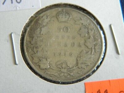 1916 Canada Silver 50 Cent-George V-11.66 Grams .925 Sterling Silver 19-399