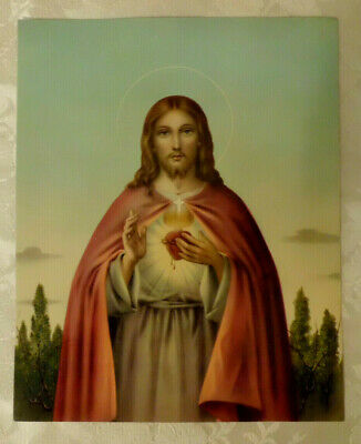 Original Antique Vtg Religious Print Picture Sacred Heart of Jesus Italy
