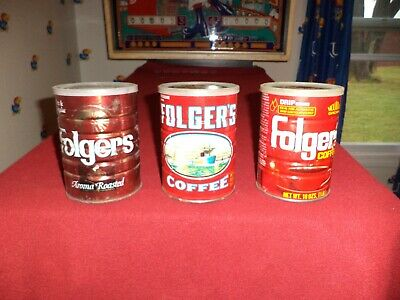 3 Vintage Folgers Coffee Cans Aroma Decaff All 13oz