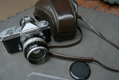 Very clean Nikkormat FTN camera + Nikkor S f1.4 50mm & leather Nikon case 1970's