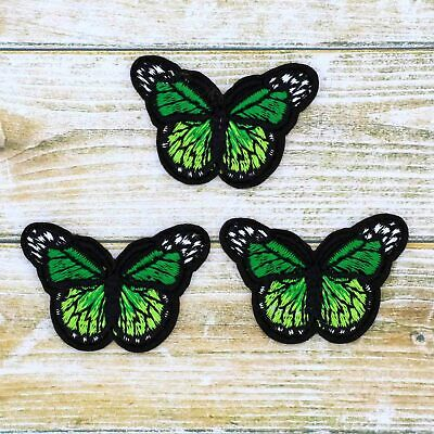 Green 3/12Pcs Embroidered Monarch Butterfly Small iron on Patches bulk Appliques