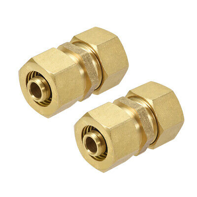 Brass Compression Tube Fitting for 10mm Tube ID 14mm Tube OD Gold Tone 2pcs