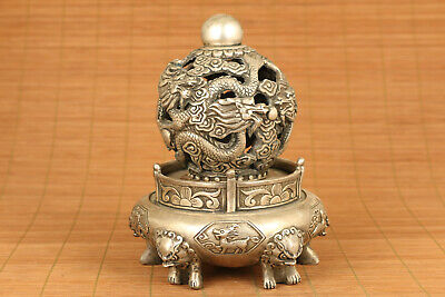 big chinese old tibet silver handwork dragon buddha collectable incense burner