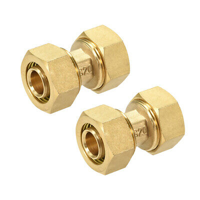 Brass Compression Tube Fitting for 16mm Tube ID 20mm Tube OD Gold Tone 2pcs