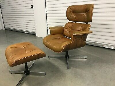 Mid Century Modern Eames Style Lounge Chair and Ottoman by Selig