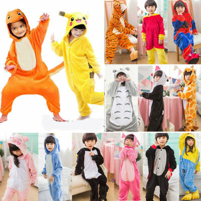 Kids Costume Fancy Dress Cosplay Onsie10 Child Unisex Hooded Animal Pajamas New