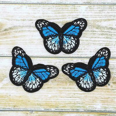 3/12Pcs Blue Embroidered Monarch Butterfly Small iron on Patches bulk Appliques