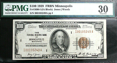 1929 $100 Frbn Minneapolis Brown Seal Pmg 30 Very Fine Fr 1890-I Rare Note!!