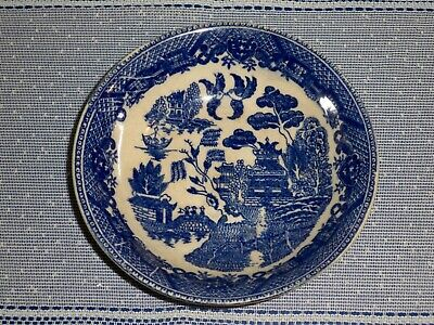 Antique Blue And White Blue Willow Style Design Bowl Birds Kissing Legend