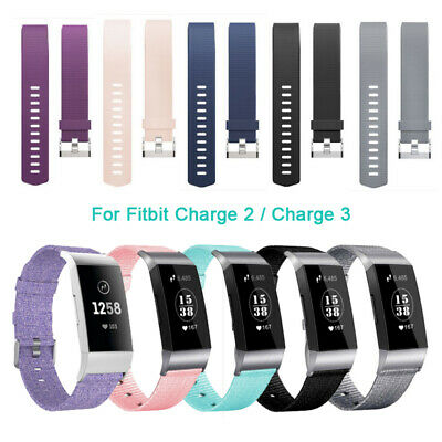 Woven Canvas Fabric / Silicone Replacement WatchBand Strap For Fitbit Charge 2 3