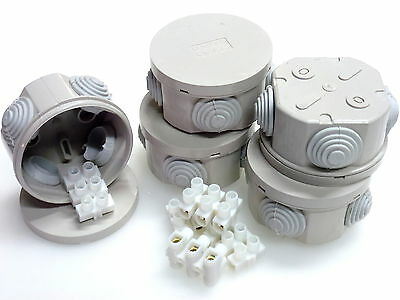 5 x Round Junction Box 65 x 35mm IP44 3 Pole 15A Cable Connectors Weatherproof