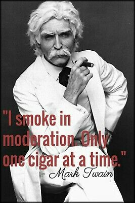 Mark Twain I Smoke Cigar Man Cave DECOR SIGN 4x6 magnet Fridge Bar Toolbox Shop