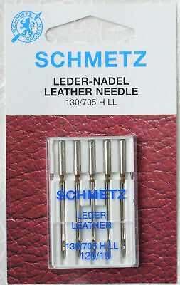 Schmetz Sewing Machine Needles, LEATHER Size 120 / 19, Pack of 5 Needles, 130/70