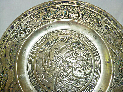 ANTIQUE HEAVY CAST BRASS CHINESE DRAGON PLATE or CHARGER - 25cm diameter