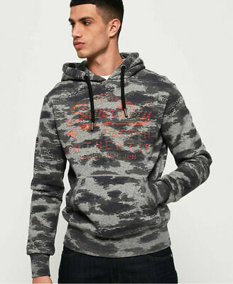 New Mens Superdry Vintage Logo Authentic Camo Hoodie Grey Grit