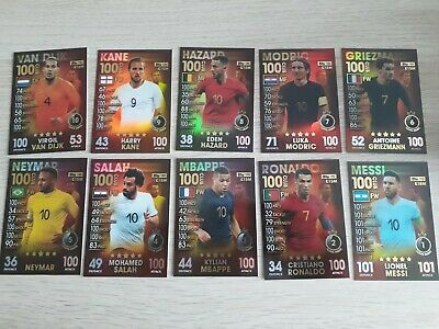 Match Attax 101 2018/19 18/19 FULL SET OF ALL 10 100 Club - MINT Condition