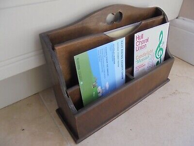 Vintage 3 tier letter rack, mahogany layered ply, menus, leaflets, cards, mail