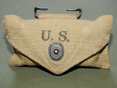 US Army USMC Marine WW2 M-1924 KHAKI FIRST AID POUCH EXC 1942 Vtg GI Carrier
