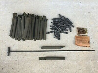 WWII WW2 M1 Garand 1903 1903A3 1917 Cleaning Rod Brush Buttstock Kit USGI STEEL