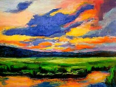 Original Oil Painting Sunset Seascape Marsh Clouds Landscape Impressionism Art