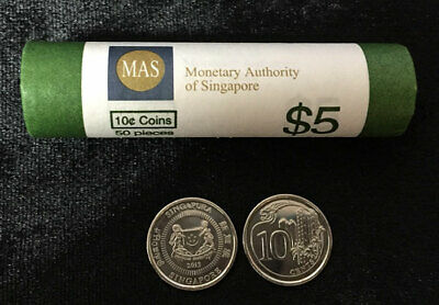 Singapore 10 Cents Majulah 2013 Coin Unc Lot 50 Coins = 1 Roll