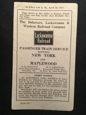 1931 Delaware Lackawanna & Western Railroad Train Schedule New York Buffalo