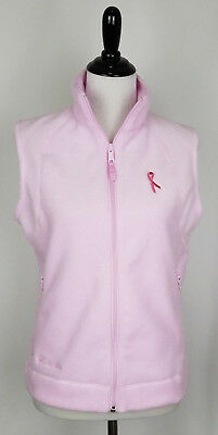 53d739ede PINK WOMENS COLUMBIA Fleece Vest Extra Large XL Ribbon Breast Cancer ...