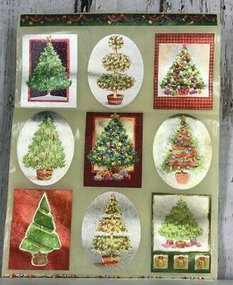 3x Sheets of Vintage Christmas Tree Bright Stickers Decoration Home Decor