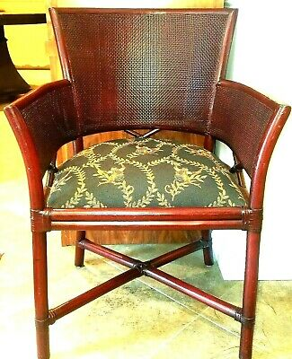A Pair of Antique Bamboo & Cane Red Lacquer Hollywood Regency Barrel Arm Chairs