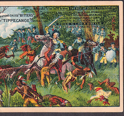 Tippecanoe Bitters Indian War Warners Malaria Blood Cure Victorian Trade Card