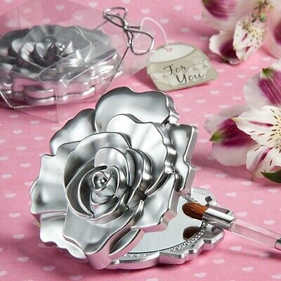 Stunning Silver Rose Compact Mirror