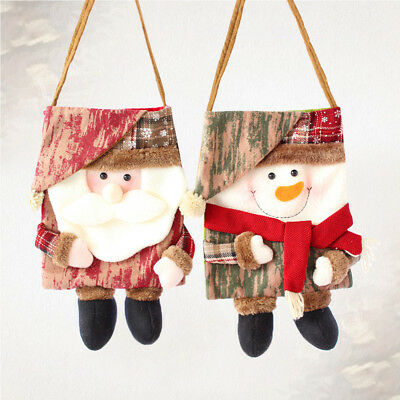2pcs Christmas Favors Bags Portable Fabric Tote Bags Holders for Sweets Biscuits