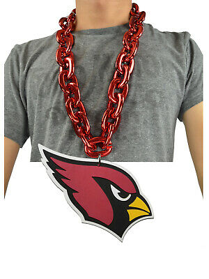 New NFL Arizona Cardinals RED Burgundy Fan Chain Necklace Foam Magnet - 2 in 1