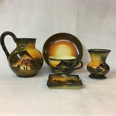 German Majolica ~ 5 Pcs By Cico ~ Black Forest Chalet Scene ~ Gold & Brown