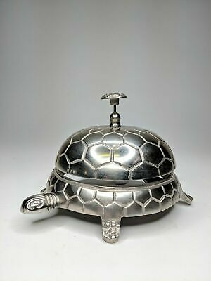 Vintage Turtle Bell Hotel Reception Concierge Desk Bell Silver Metal