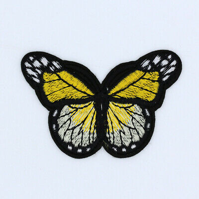 Yellow-Embroidered Monarch Butterfly-Iron on Patches bulk-Applique-Free Shipping