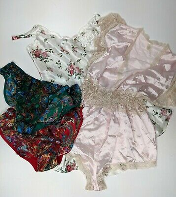 Vtg Victorias Secret Lot of 4 Pink Teddy Romper Nightie Satin Lace ILGWU Large