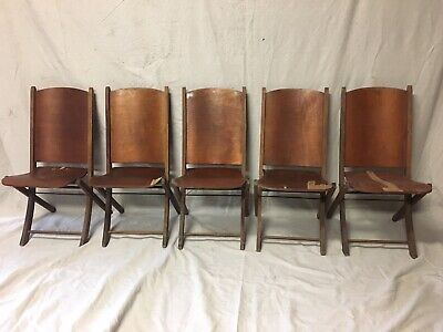 Antique Adult Wood Wooden Folding Chairs 5 Set Church Sunday School