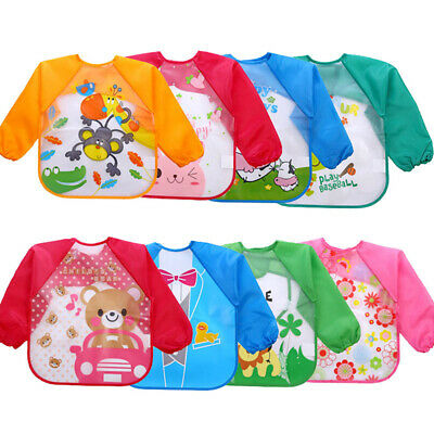 Long Sleeved Bibs Aprons Baby Child Kids Cartoon Feeding Bibs 4 Pcs Nurse Aprons