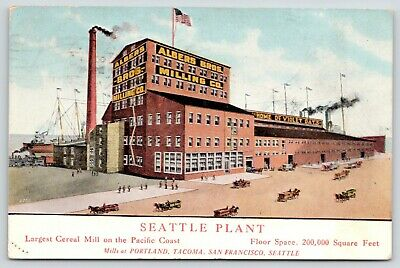 Seattle~Albers Milling Plant~Largest on Pacific Coast~Violet Oats Cereal 1909 PC